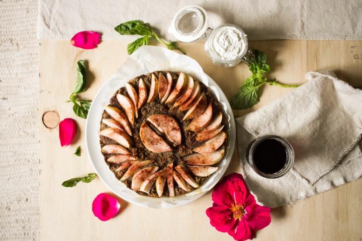 Pinot Noir Pear Cake with Rose + Basil Coconut Whipped Cream (vegan & gluten-free)//